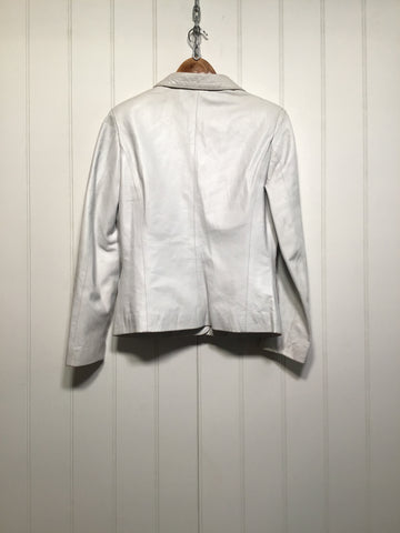 White Leather Blazer Jacket (Size S)