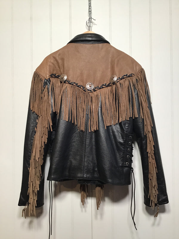 Fringed Leather Jacket (Size L)