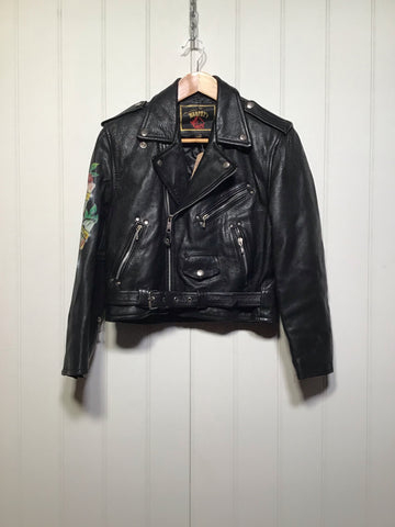 Born To Be Wild Cropped Leather Jacket (Size S)