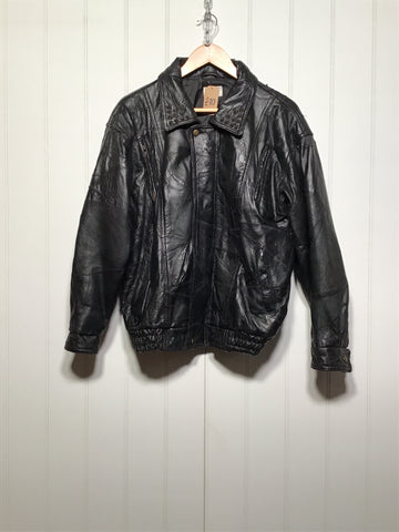 Studded Collar Leather Jacket (Size M)