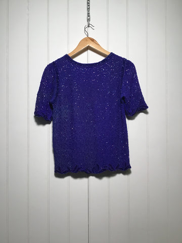 Embellished Silk Evening Top (Size S)