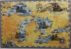 "Shipwrecks of The Great Lakes Poster 24"" X 18"""