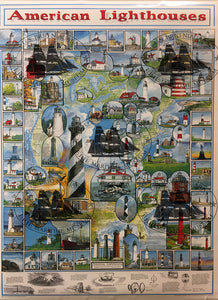 "American Lighthouses Poster 25"" X 36.5"""