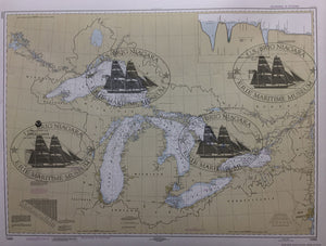 "NOAA Chart of The Great Lakes Poster 24"" X 18"""