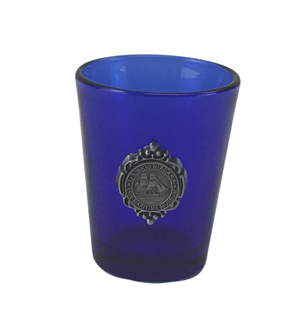 US Brig Niagara Blue Shot Glass With Charm