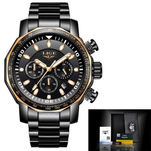 LIGE Fashion Mens Watches Luxury Brand