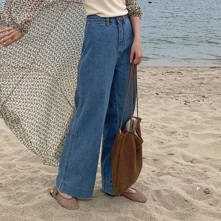 High-waist casual wide pants
