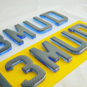 Neon 4D plates with a carbon gel overlay