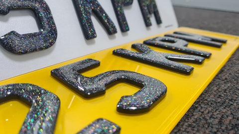 Cosmic Glitter on 4D Gel Number Plates