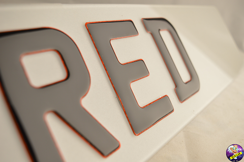 3D Glitter Red Gel Number Plates