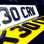 4D Carbon on Black Laser Cut Number Plate-PL8 LAB