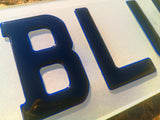 3D Glitter Blue Gel Number Plates