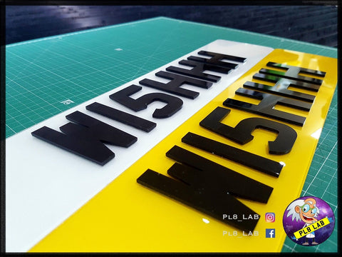 4D Black Laser Cut Number Plate-PL8 LAB