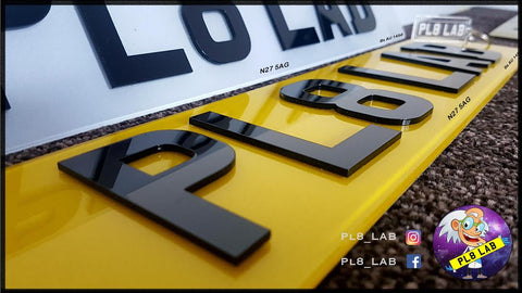 SINGLE 4D Black Number Plate-PL8 LAB
