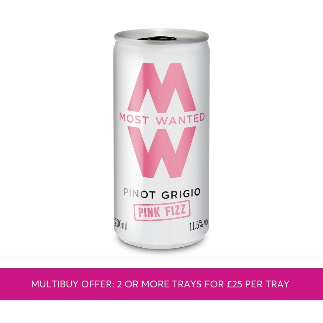 Most Wanted Pink Pinot Grigio Fizz cans 12x200ml