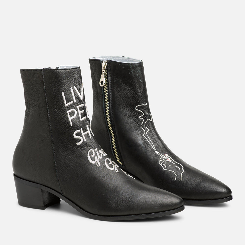 BLACK SANTA MONICA PEEP BOOT