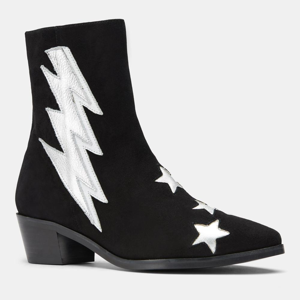 THE ORIGINAL BLACK SUEDE/SILVER BOLT