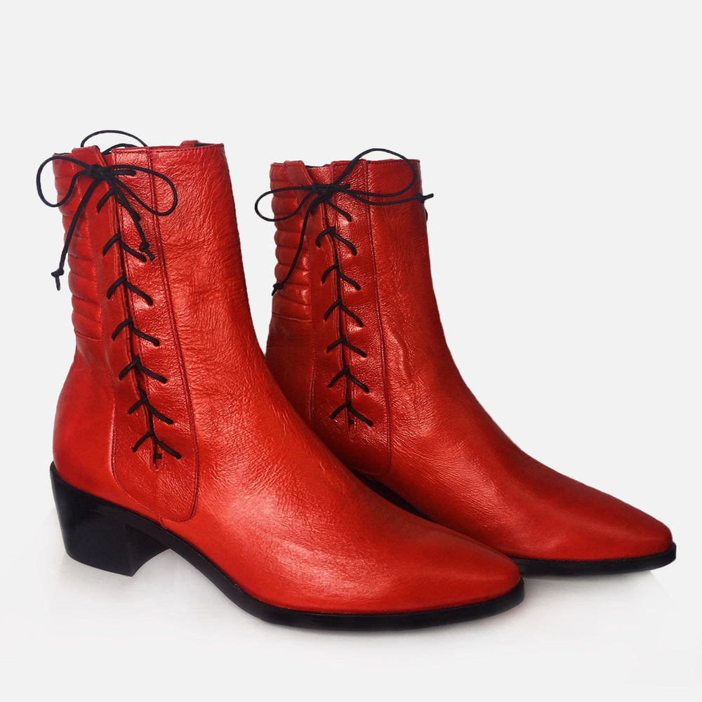 RED PATENT HARLEY BOOT