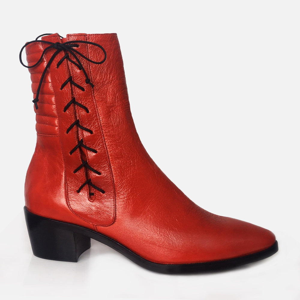 HARLEY BOOT RED PATENT