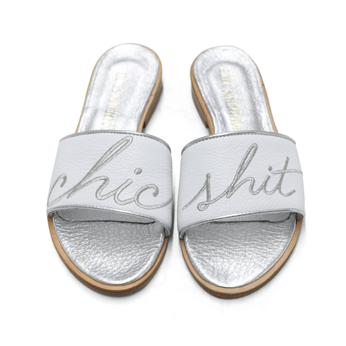 WHITE / SILVER CHIC SHIT SANDAL