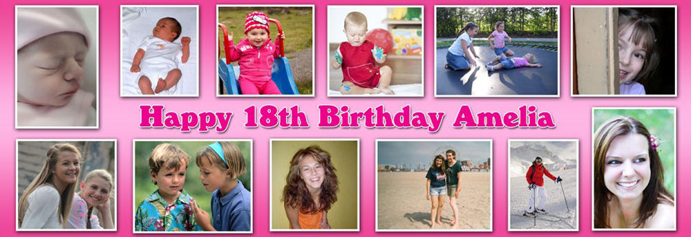 Its My Party Personalised Photo Collage Banner