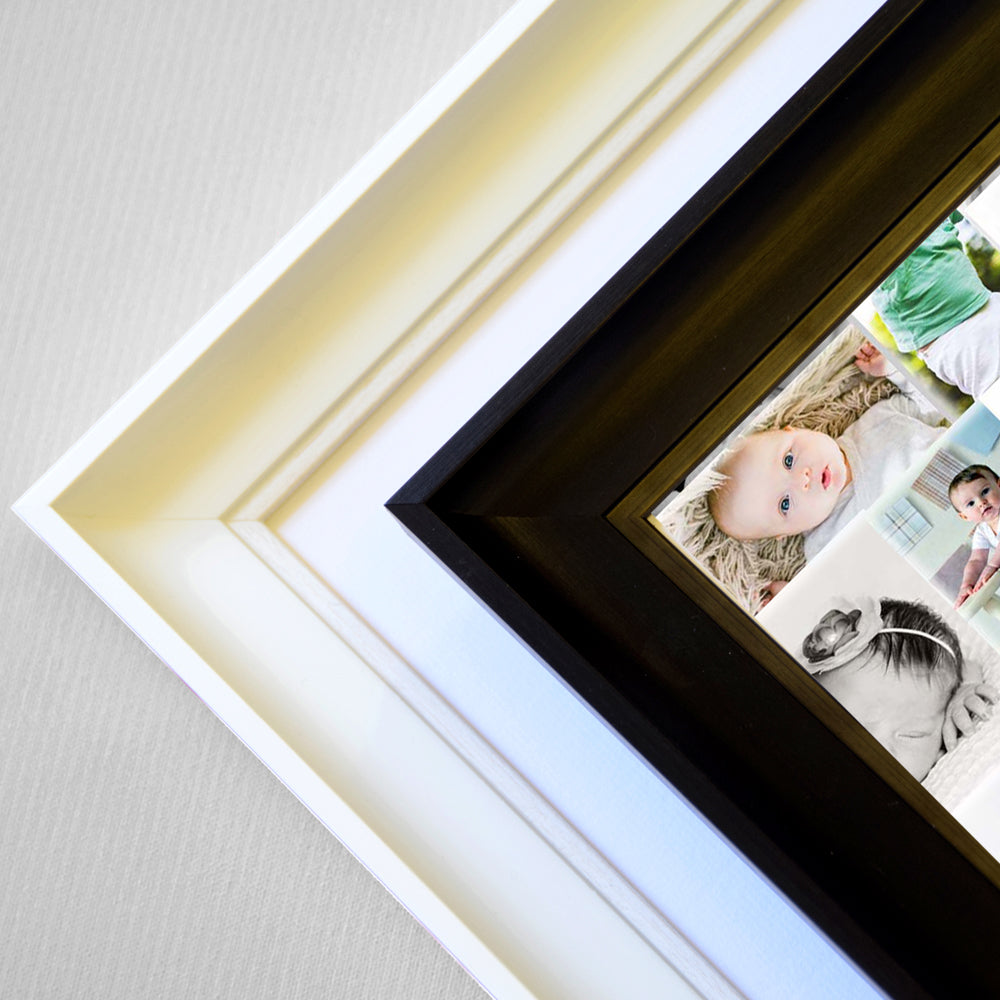 Personalised New Baby's 1 Picture  Sentiment gift frame including personal Info  , White Frame, Corner View, domore.ie