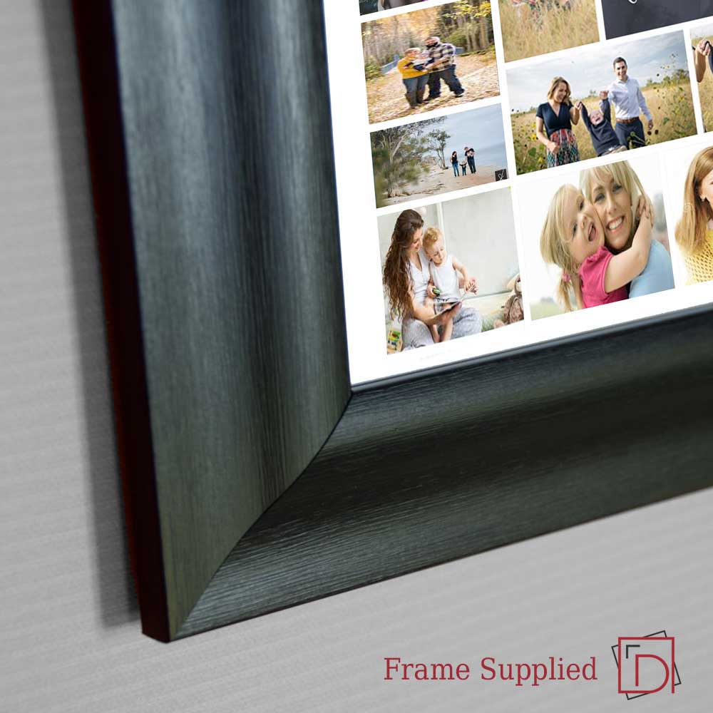Dark Slate Gray Sleek Engagement Framed Photo Collage