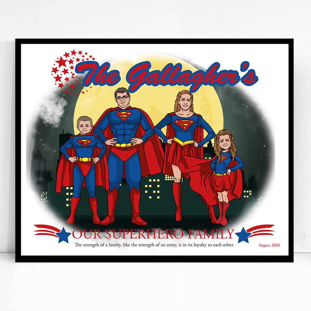 Our Superhero Family Caricature Portrait