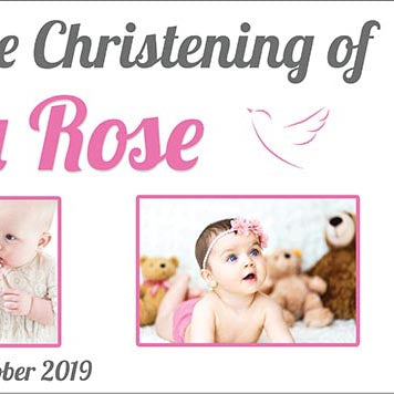 Our Christening Party Photo Personalised Banner
