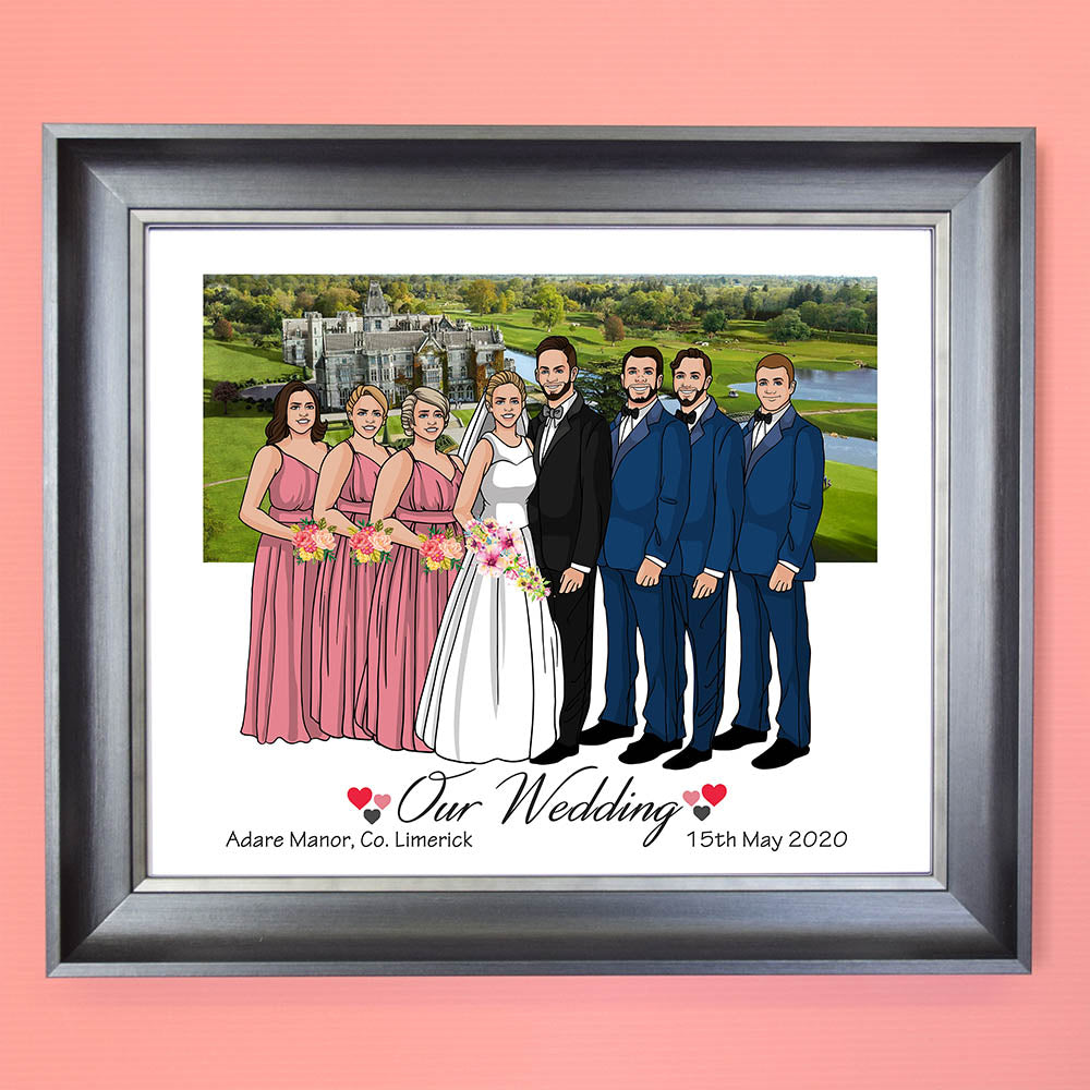Our Wedding Day Bridal Party Caricature Portrait