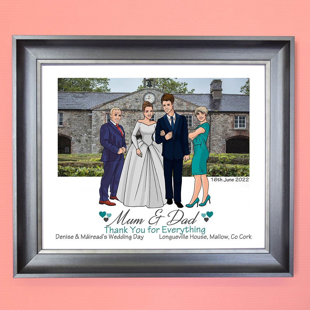 Wedding Day Thank You Caricature Portrait