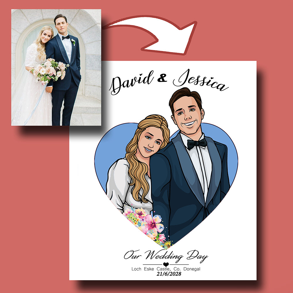 Our Wedding Day Upperbody Caricature Portrait