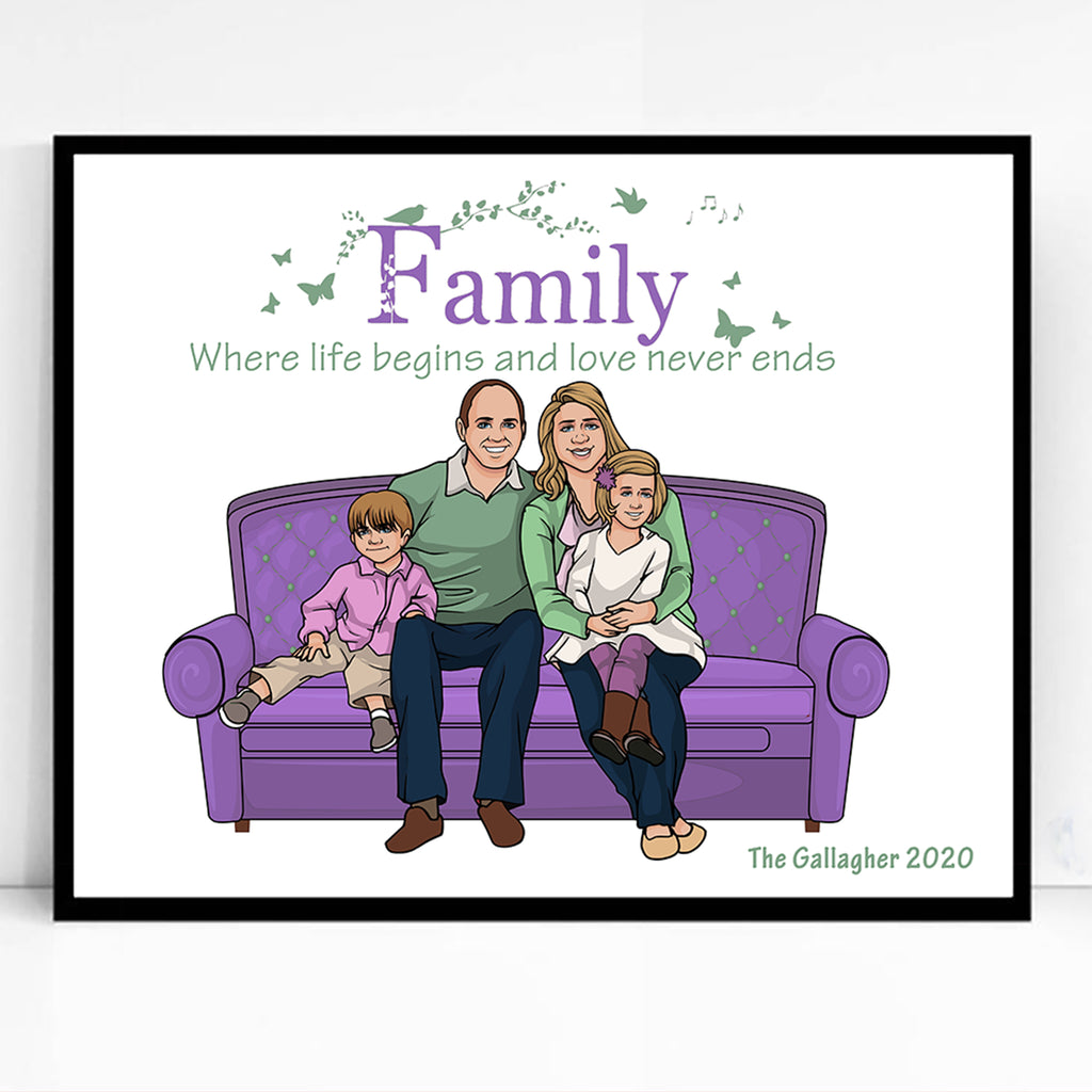 Life Begins Family Caricature Portrait