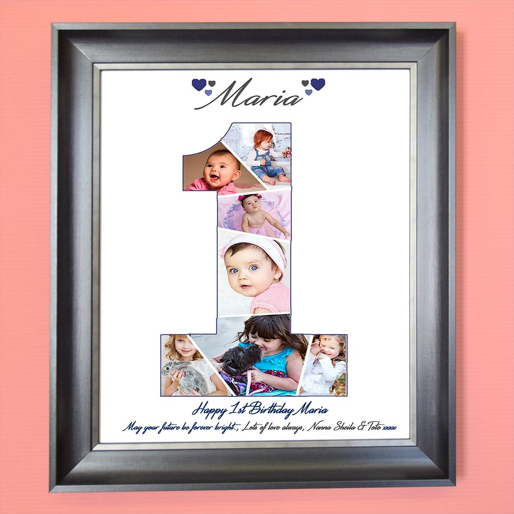 1st Birthday Framed Photo Collage - Do More With Your Pictures