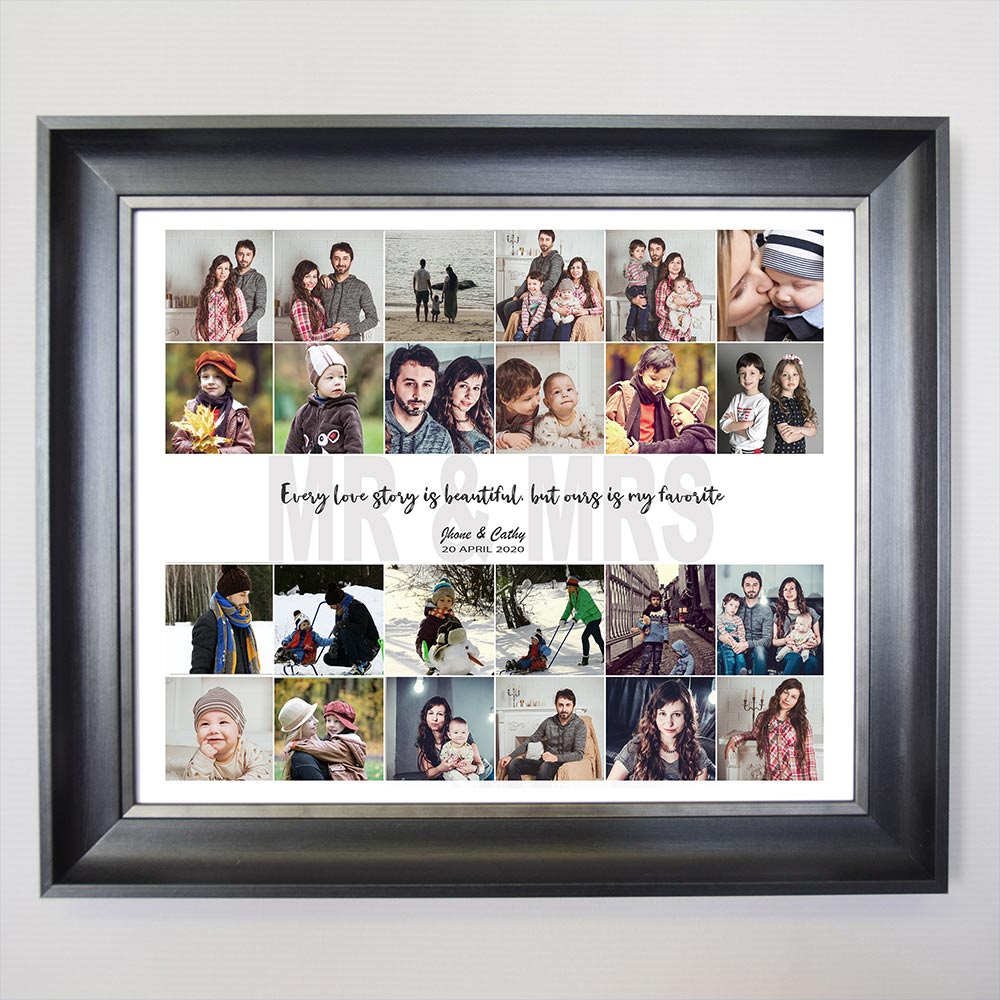 Newly Weds Mr And Mrs Story Framed Photo Collage