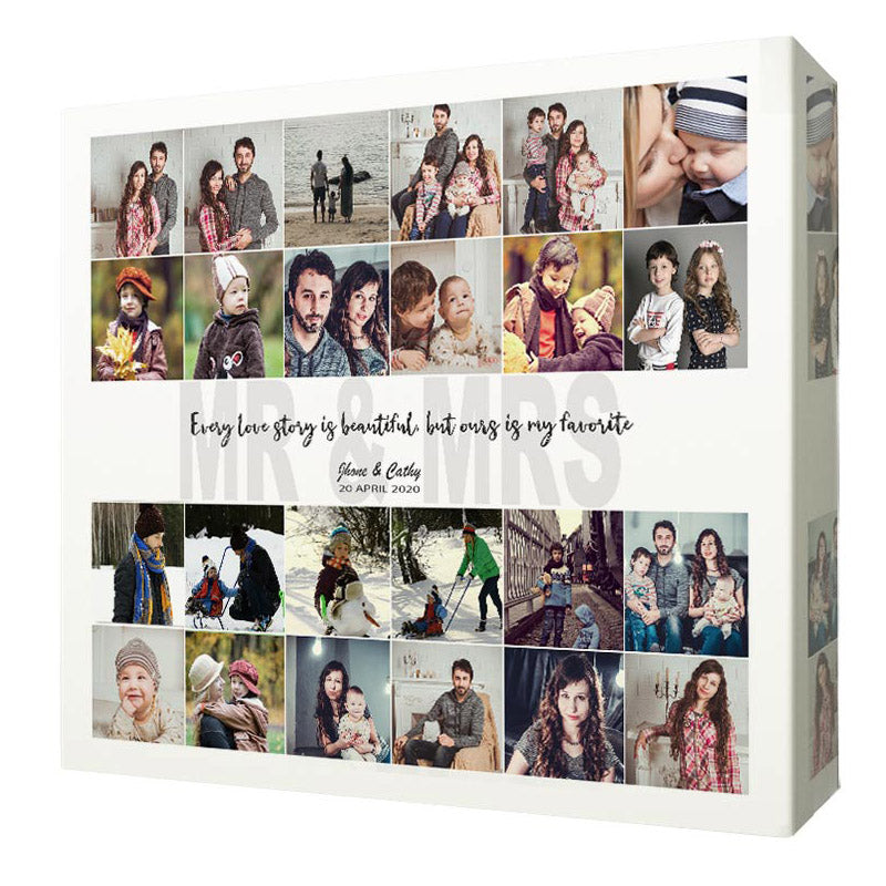 Newly Weds love Story Photo Collage On Canvas