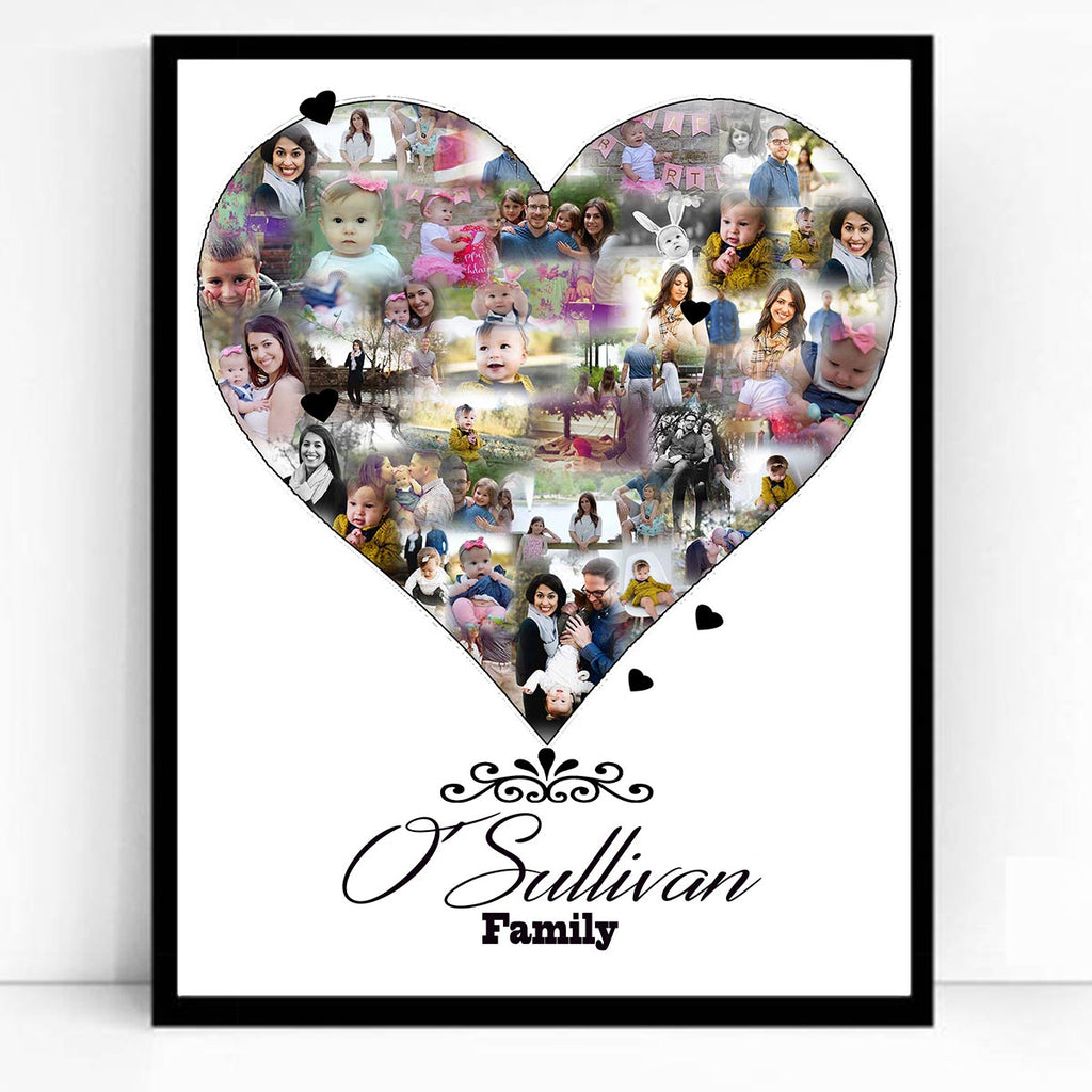 Love Shape Family Framed Photo Collage