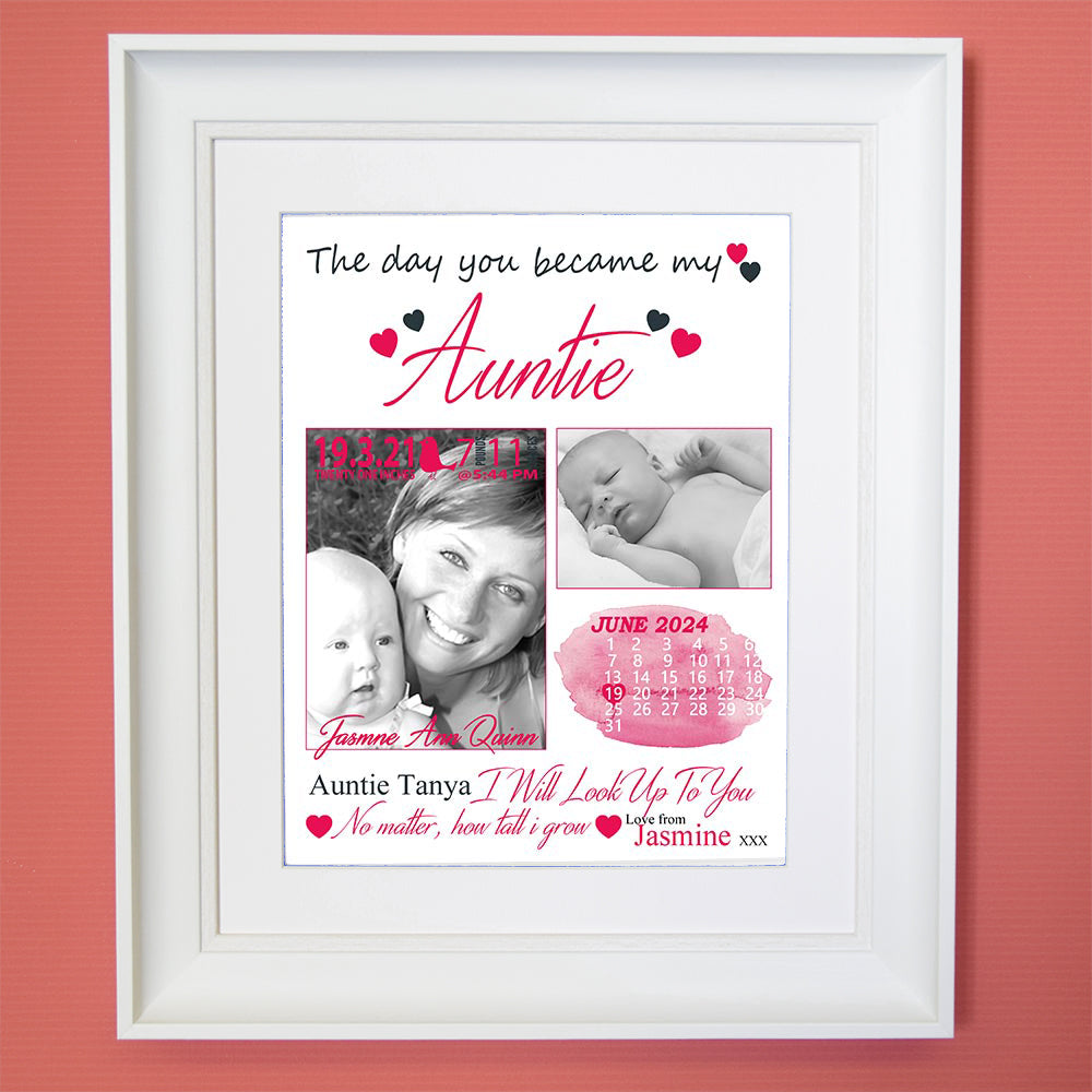 The Day You Became My Aunt Sentiment Gift Frame