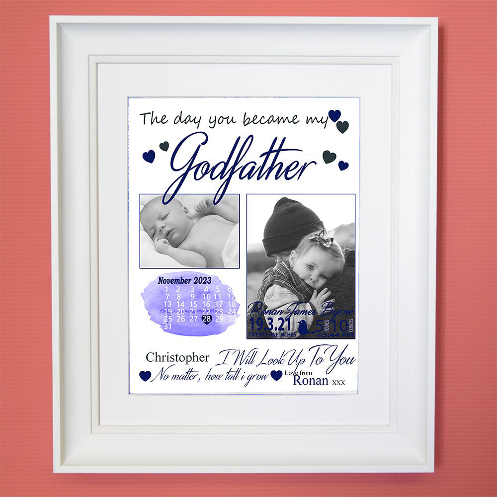 The Day You Became My Godparents Sentiment Gift Frame