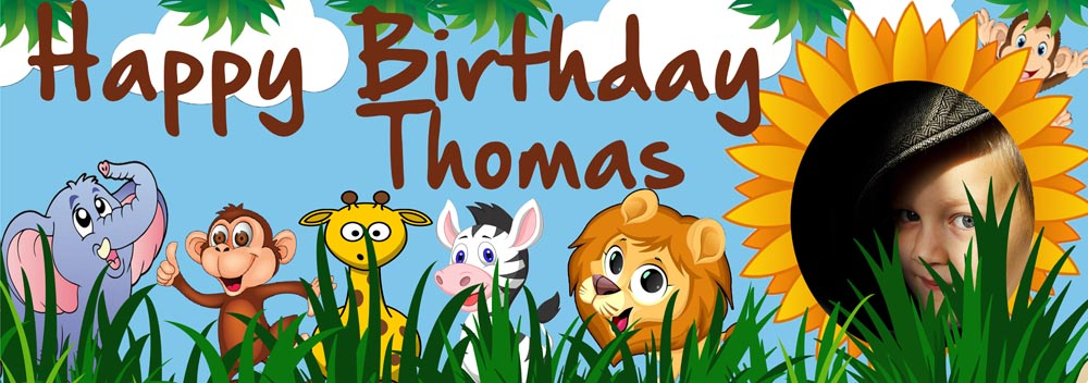 In The Jungle Birthday Party Personalised Photo Banner