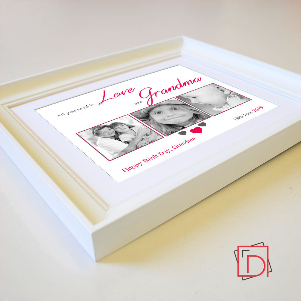 All You Need Is Love And Grandma Sentiment Gift Frame - Do More With Your Pictures
