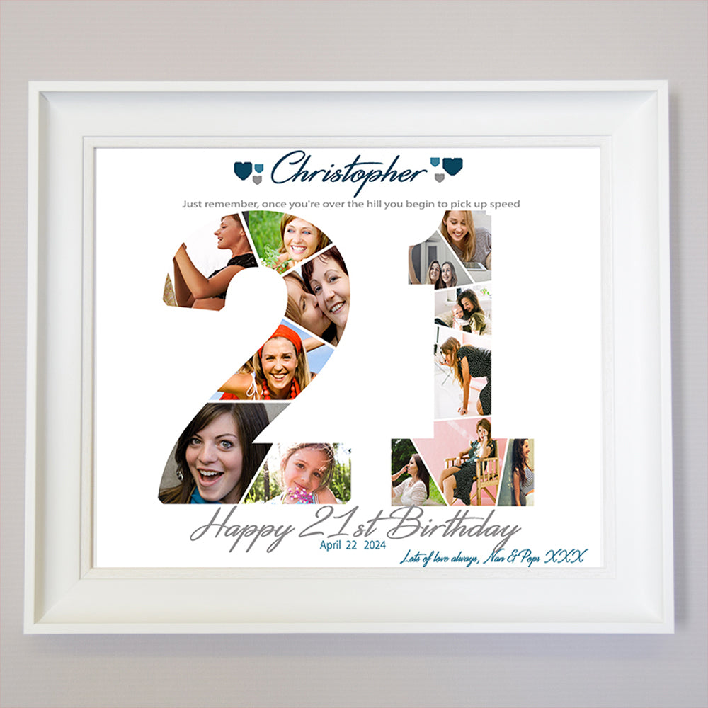 21st Birthday Anniversary Framed Photo Collage