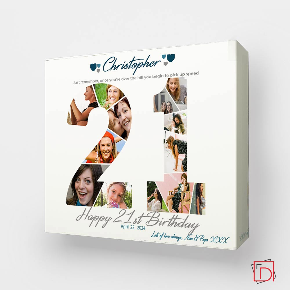 21st Birthday Anniversary Framed Photo Collage - Do More With Your Pictures