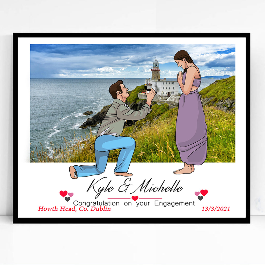 Our Engagement Location Caricature Portrait