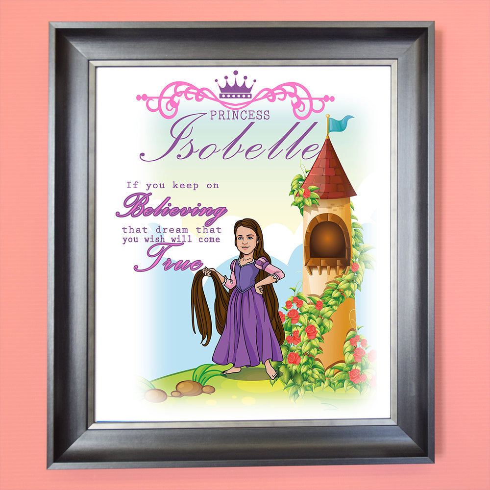 Let Down You Hair Princess Child Caricature Portrait