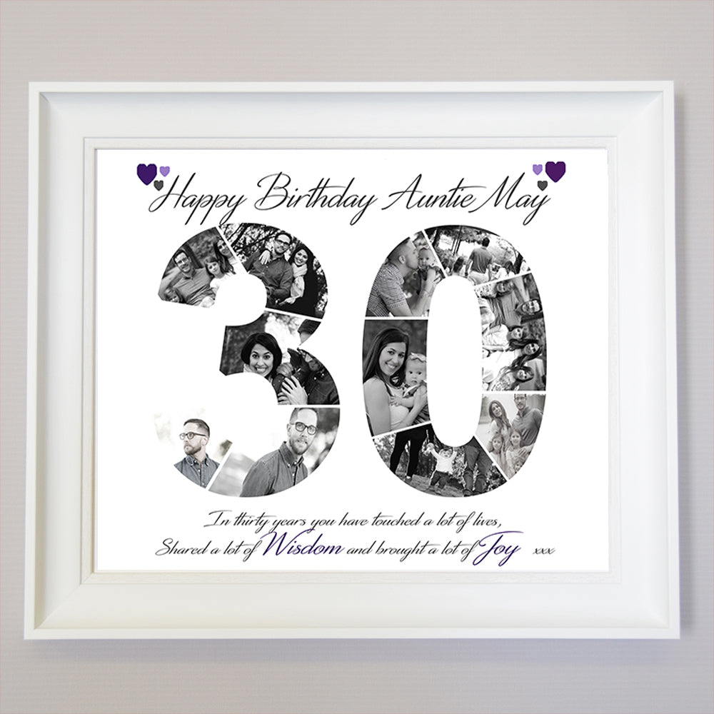 30th Birthday or Anniversary  Framed Photo Collage