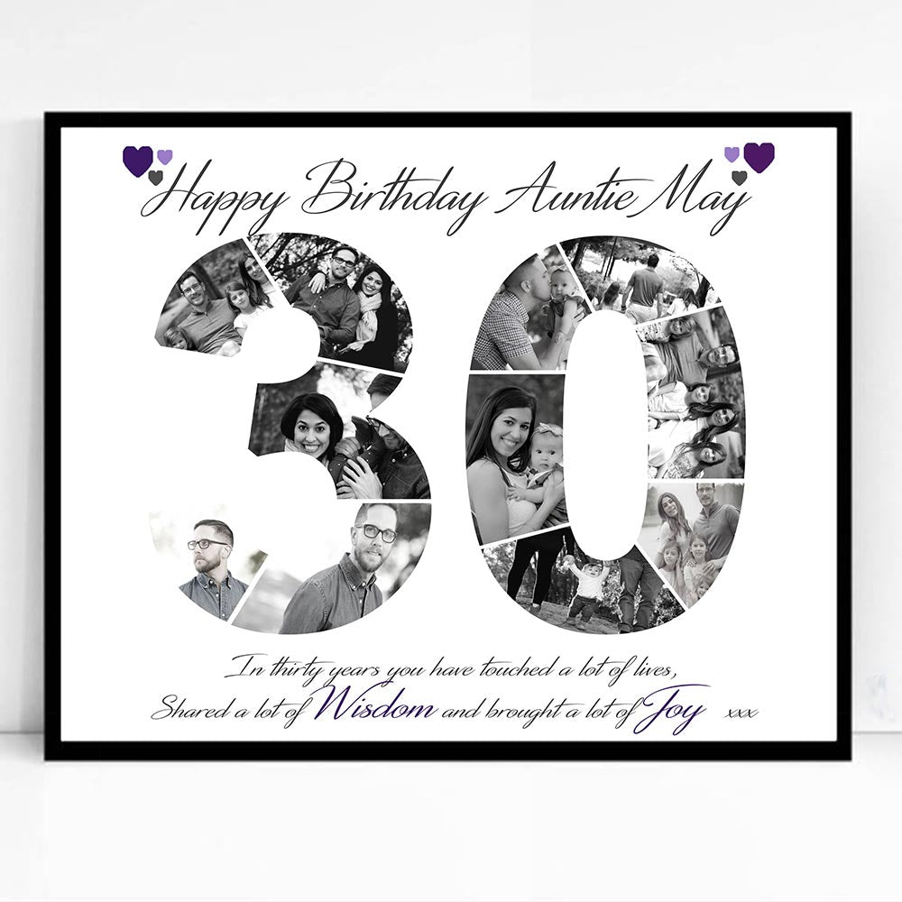 30th Birthday or Anniversary  Framed Photo Collage - Do More With Your Pictures