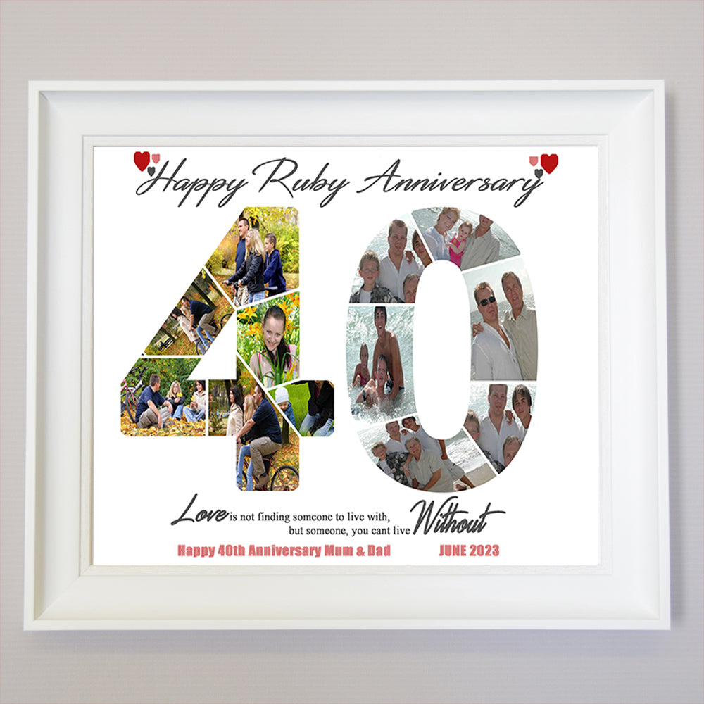 40th Birthday Framed Photo Collage