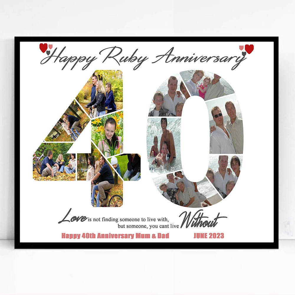 40th Ruby Anniversary Framed Photo Collage - Do More With Your Pictures