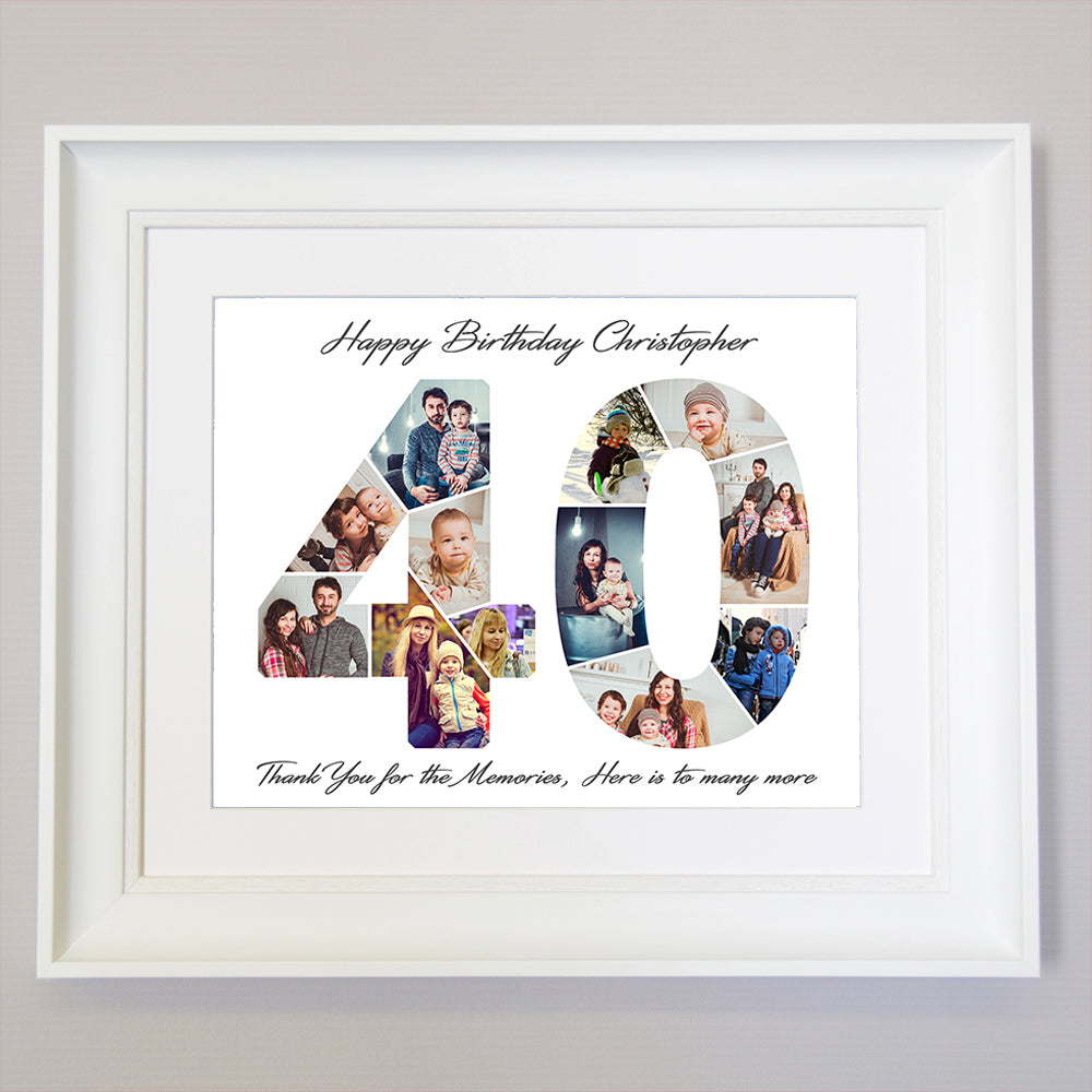 40th Ruby Anniversary Framed Photo Collage